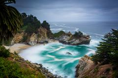 Long exposure of McWay Falls and the Pacific Ocean, at Julia Pfeiffer Burns S - stock photo