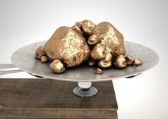 Scale And Gold Nuggets - stock illustration