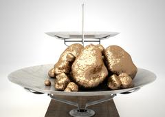 Scale And Gold Nuggets Stock Illustration