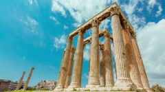 4K Athens Greece Temple of Zeus Ancient Olympeion timelapse 30p Stock Footage