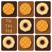 Tic-Tac-Toe of donut and pineapple pie - stock illustration