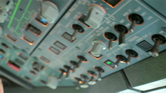 Glass cockpit cabin. Pilot switch electronic controls aircraft Airbus A320 A319 Stock Footage