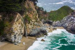 View of McWay Falls, at Julia Pfeiffer Burns State Park, Big Sur, California. - stock photo