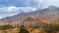 Massive Windmill Farm in California with Accelerated Cloud Motion Stock Footage