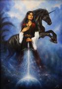 Woman with mighty black unicorn Stock Illustration