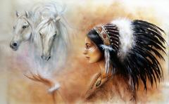 beautiful airbrush painting of a young indian woman - stock illustration