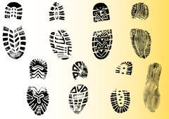 Single black fingerprint - simple monochrome image - stock illustration