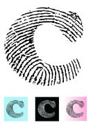 Fingerprint Alphabet Letter C - stock illustration