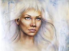 beautiful airbrush portrait of a young enchanting woman warrior - stock illustration