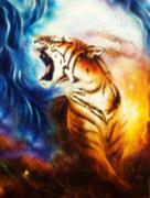Beautiful airbrush painting of a roaring tiger on a abstract cos Stock Illustration