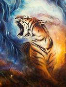 Beautiful airbrush painting of a roaring tiger  Stock Illustration