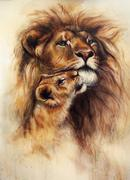 Beautiful airbrush painting of a loving lion  and her baby cub Stock Illustration