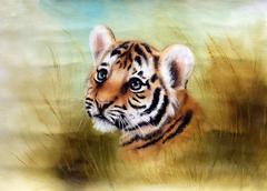 adorable baby tiger head looking out from a green grass surround - stock illustration