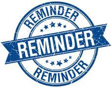 Reminder grunge retro blue isolated ribbon stamp Stock Illustration