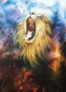 Airbrush painting of a roaring lion on a abstract cosmical back Stock Illustration