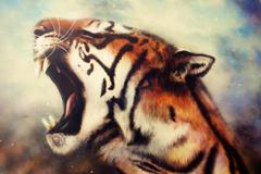 Airbrush painting of a roaring tiger Stock Illustration