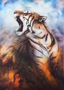 A beautiful airbrush painting of a roaring tiger on a abstract c - stock illustration