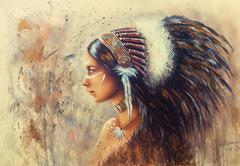 Beautiful airbrush painting of a young indian woman wearing a bi Stock Illustration