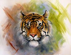 painting of a bright mighty tiger head on a soft toned abstract - stock illustration