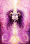 Beautiful painting of a violett angelic spirit with a woman's Stock Illustration