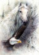 white horse with a flying eagle beautiful painting illustration - stock illustration