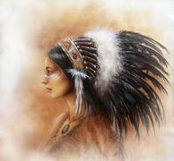 young indian woman wearing a big feather headdress, a profile p - stock illustration