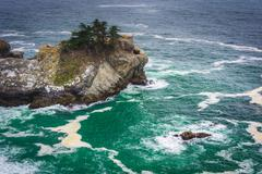View of waves and rocks in the Pacific Ocean, at Julia Pfeiffer Burns State P - stock photo