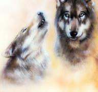Pair of wolves - stock illustration