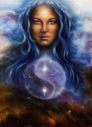 beautiful  beautiful woman in star dust and symbol jin jang - stock illustration