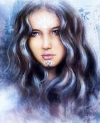 A beautiful airbrush painting of an enchanting woman face  Stock Illustration