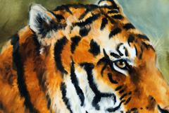 Detail tiger head on a soft toned abstract background - stock illustration
