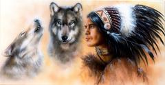 Stock Illustration of animals wolf and portrait of american indian in national dress