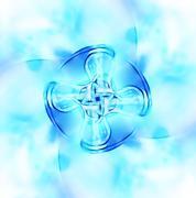 Decorative fractal wallpaper - intricate patterns of blue light - stock illustration