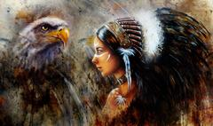 Beautiful mystic painting of a young indian woman with hawk Stock Illustration
