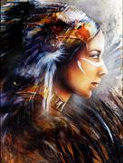 Beautiful painting Woman  with a  eagle feathers, illustration  Stock Illustration