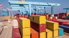 Crane work in Haifa Port Stock Footage