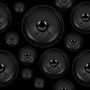 audio speakers, seamless background pattern - stock photo