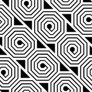 Abstract Black and White Octagon Spiral Vector Seamless Pattern - stock illustration
