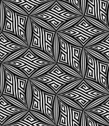 Abstract Op Art ZigZag Vector Seamless Pattern - stock illustration