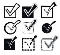 Check Mark Icons, Vector Illustration Stock Illustration
