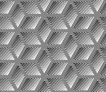 Abstract Striped Rhombuses Geometric Vector Seamless Pattern - stock illustration