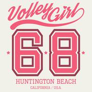 Volley Girl T-shirt Typography, Vector Illustration - stock illustration