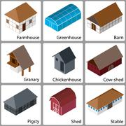 3D Farm Buildings Icons, Vector Illustration - stock illustration