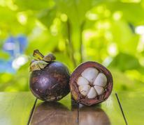 Mangostins and Fresh Green Leaf Stock Photos