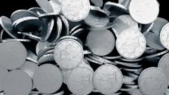 Coins silver fill screen transition money cash pile Stock Footage