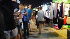 People at Train Night Market in Bangkok Stock Footage