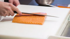 Chef standing in kitchen of sushi bar Stock Footage