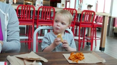 Young family eating fast food Stock Footage
