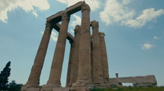 Temple of Olympian Zeus Athens,ancient pillars,real time - stock footage