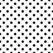 Tile vector pattern with black polka dots on white background Stock Illustration